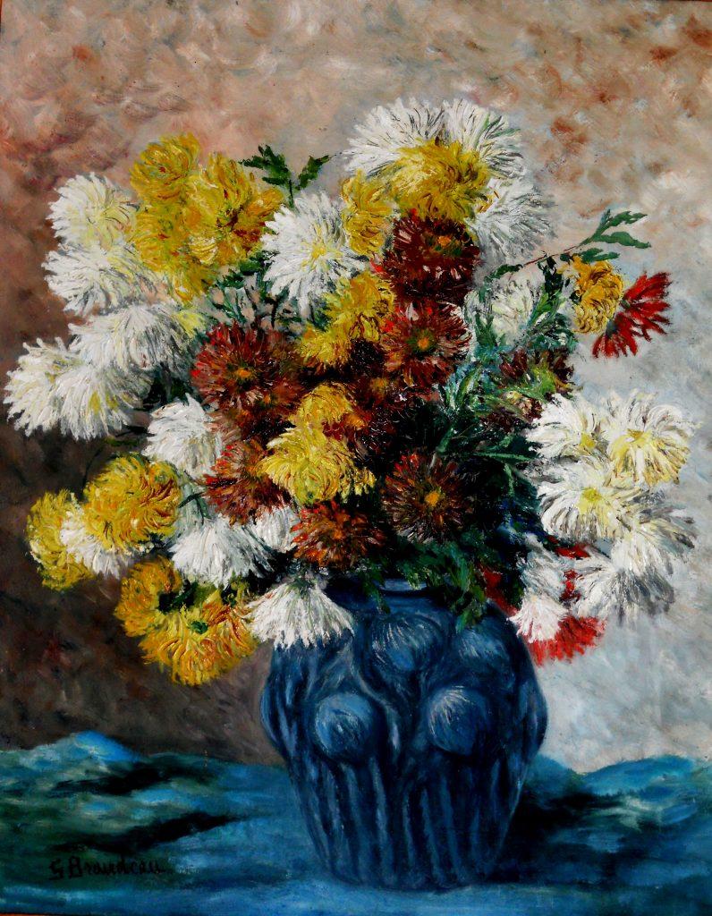 Dalhias en vase bleu