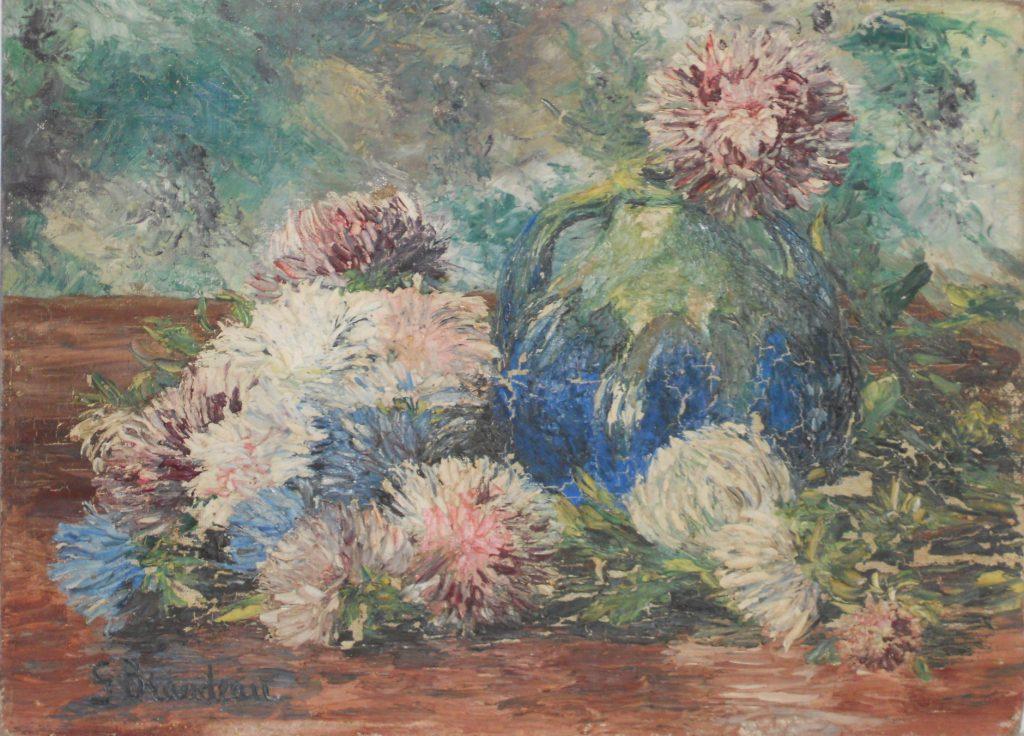 Dalhias et pot bicolore