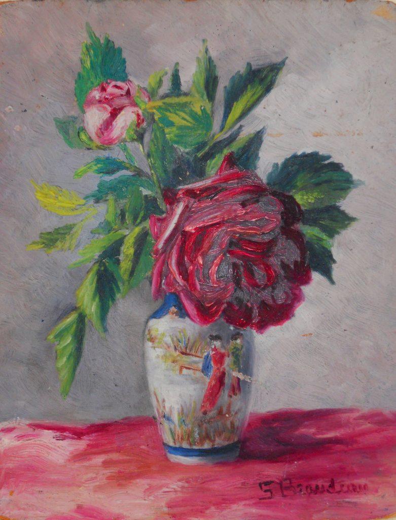 Roses rouges au vase chinois