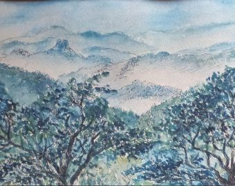 Etude de paysage en bleu