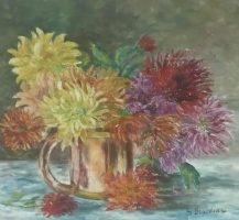 Chrysanthèmes au pot de cuivre - Huile sur toile