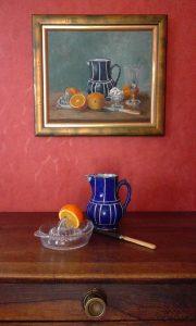 Nature morte aux oranges et pichet bleu - Composition