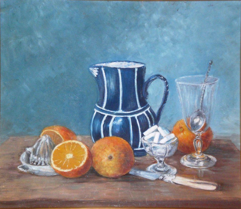 Nature morte aux oranges et pichet bleu - Huile